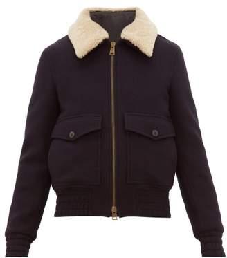 Ami Shearling Collar Wool Blend Jacket - Mens - Navy