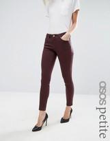 Asos Lisbon Mid Rise Jeans in Blackened Oxblood