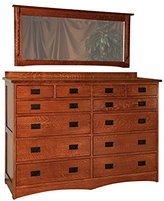 """Amish Heirlooms Solid Maple Jacobson Collection Dresser with 12 Drawer, 21"""" by 66"""" by 48"""", White Linen"""