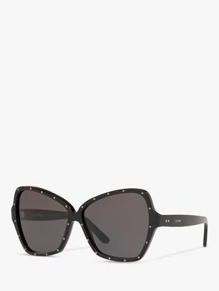 Celine CL4066IS Women's Studded Butterfly Sunglasses, Black/Grey