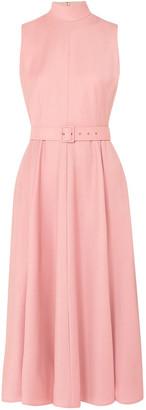 Emilia Wickstead + The Woolmark Company Sheila Belted Merino Wool Midi Dress