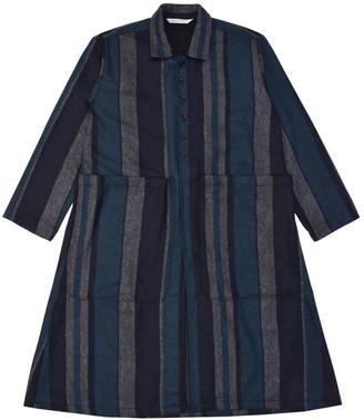 Lanefortyfive Musta2 Women's Coat - Blue Multi-Stripe Tweed