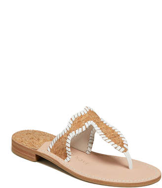 Jack Rogers Jackie Flat Cork Whipstitch Thong Sandals