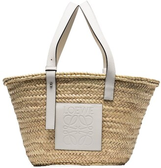 Loewe Leather-Trimmed Raffia Basket Tote