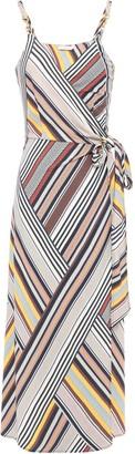 Tory Burch Hook-embellished Striped Crepe-jersey Midi Wrap Dress