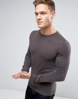 Asos Muscle Fit Cotton Crew Neck Jumper In Slate
