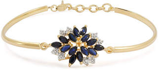 FINE JEWELRY Blue & White Lab-Created Sapphire 14K Gold Over Silver Bangle Bracelet
