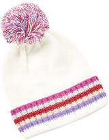Rampage Women's Beanies Marshmallow - White & Red Stripe Pom-Top Beanie