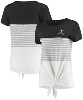 Unbranded Tennessee Volunteers Why Knot Colorblocked Striped Knotted T-Shirt - Charcoal
