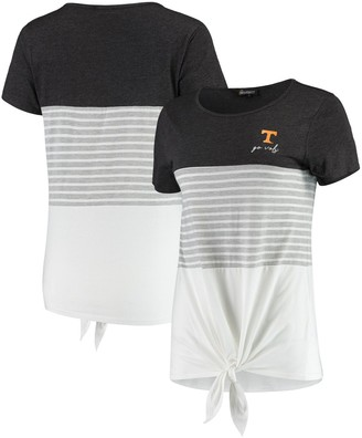 Tennessee Volunteers Why Knot Colorblocked Striped Knotted T-Shirt - Charcoal