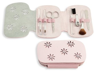 Bey-Berk 8-Piece Leather Suede Case Stainless Steel Manicure Set