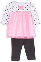 Bon Bebe Pink & White Polka Dot Tulle Babydoll Dress & Jeggings