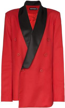 House of Holland x THE WOOLMARK COMPANY contrast collar double-breasted blazer jacket