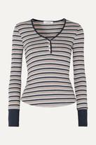 Frame Striped Ribbed Stretch-knit Top - Gray