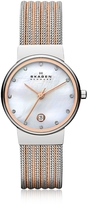 Skagen Ancher Two Tone Striped Stainless Steel Mesh Women's Watch