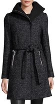 T Tahari Eva Asymmetric-Zip Tweed Coat, Black