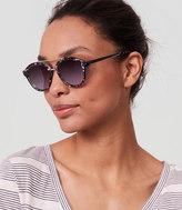 LOFT Mirrored Bar Round Sunglasses