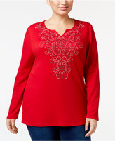 Karen Scott Plus Size Embellished Split-Neck Top, Only at Macy's