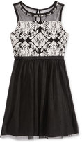 Sequin Hearts Beaded Neckline Mesh Dress, Big Girls (7-16)