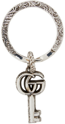 Gucci Silver Double G Keychain