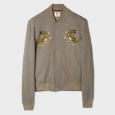 Paul Smith Men's Taupe Embroidered 'Tiger' Jersey Bomber Jacket