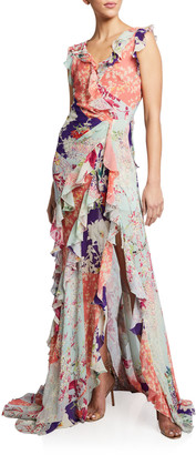 Etro Orchid Patchwork Column Gown