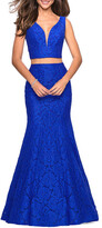 Thumbnail for your product : La Femme Two-Piece Stretch-Lace Dress Set w/ Sleeveless Crop Top & Mermaid Skirt
