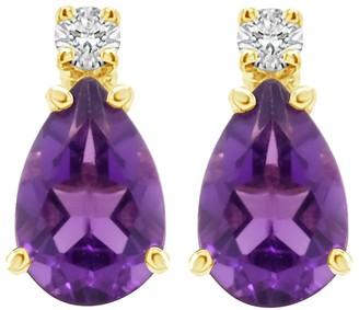 14K Pear Shaped Semi-Precious Gemstone Diamond Earrings
