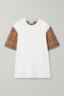 Burberry Checked Poplin-trimmed Cotton-jersey T-shirt - White