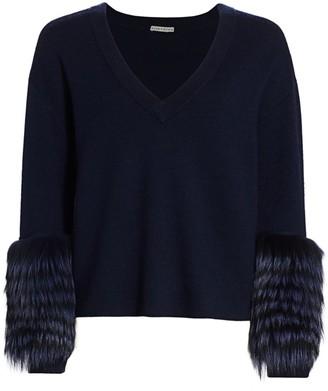 Alice + Olivia Shiela Silver Fox Fur-Trim Sweater