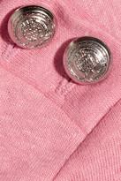 Balmain Wrap-back cotton and linen-blend jersey top