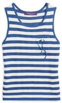 Ralph Lauren Striped Silk Tank Top Cream/French Blue S
