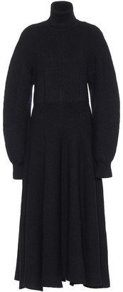 Jil Sander Wool turtleneck midi dress