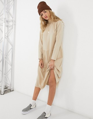 ASOS DESIGN smock midi dress with tiered hem in beige