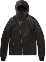 Rick Owens - Slim-fit Hooded Grained-leather Jacket