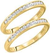 My Trio Rings 1/2 CT. T.W. Round Cut Ladies Same Sex Wedding Band Set 14K Yellow Gold- Size 3.75