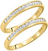 My Trio Rings 1/2 CT. T.W. Round Cut Ladies Same Sex Wedding Band Set 14K Yellow Gold- Size 7.5