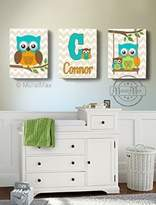 MuralMax - Personalized - Owl Family Perched On A Branch - Chevron Canvas Art Decor - Set of 3 - Size - 10 x 12