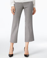 NY Collection Plaid-Knit Straight-Leg Cropped Pants
