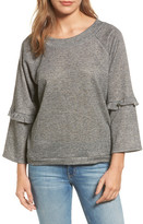 Caslon Ruffle Trim Bell Sleeve Sweatshirt (Regular & Petite)