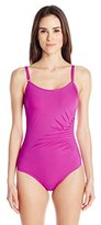 Calvin Klein Women's Draped Starburst One-Piece Swimsuit with Removable Soft Cups