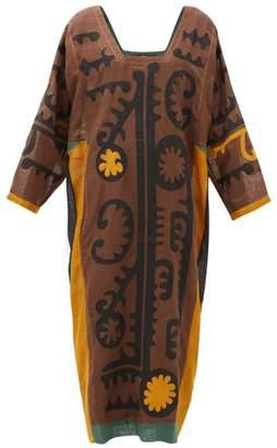 Vita Kin - Mombasa Square-neck Appliqued-linen Kaftan - Womens - Black Yellow