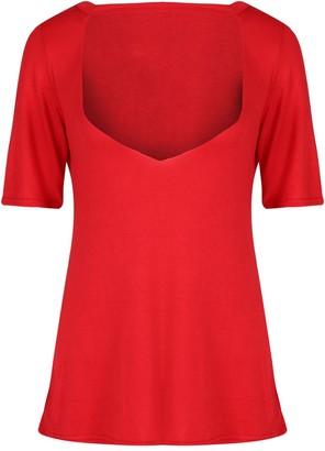 Fashion Star Womens Deep V Plunge Cut Out Short Sleeve Choker Neck Baggy T Shirt Top Grey