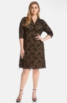 Karen Kane Plus Size Women's Scallop Illusion Lace Dress