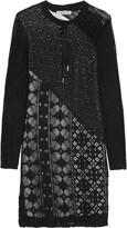 Sandro Riviera lace-paneled crochet-knit mini dress
