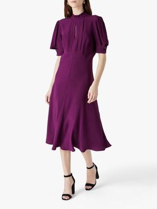 Finery Beaumont Ruffle Neck Midi Dress, Purple