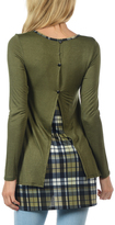 Celeste Olive Plaid Panel Tunic
