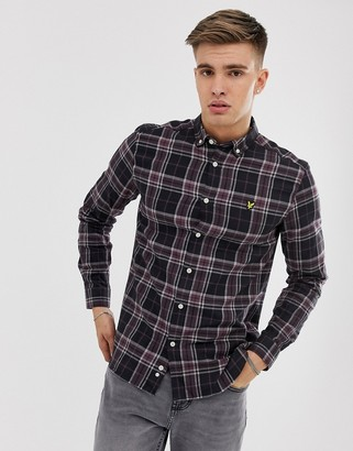 Lyle & Scott flannel check long sleeve button down shirt in black/burgundy