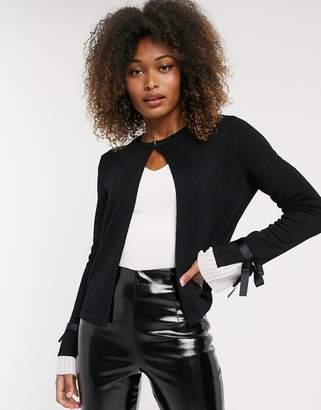 Vero Moda tie sleeve cardigan-Black