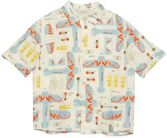 Gucci Children's plane print linen shirt